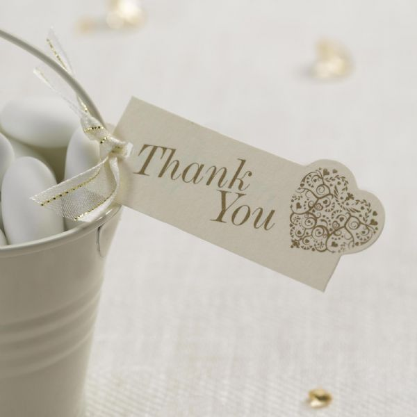 Vintage Romance Ivory & Gold Thank You Tags (10)